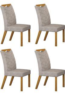 Conjunto Com 4 Cadeiras Verona Imbuia Mel E Pena Cinza