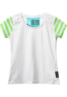 Camiseta Baby Look Feminina Algodão Listrada Estilo Moda - Feminino-Branco+Verde Claro
