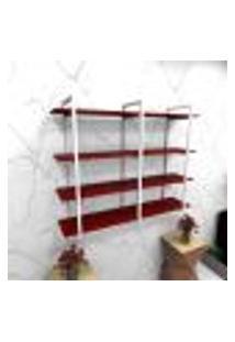 Estante Estilo Industrial Sala Aço Cor Branco 120X30X98Cm Cxlxa Cor Mdf Vermelho Modelo Ind43Vrsl
