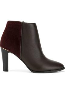 Loveless Ankle Boot Com Salto Alto - Marrom