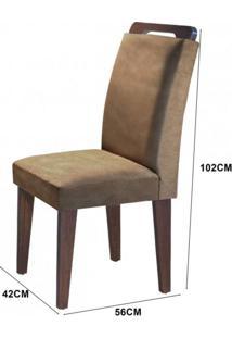 Conjunto Sala De Jantar Mesa E 6 Cadeiras Dari Siena Móveis Animalle Chocolate/Off White/Café