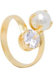 Anel 2 Pedras Semijoia Banho De Ouro 18K Zirconia E Perola Ajustavel - Feminino-Dourado