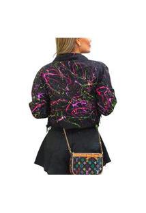 Jaqueta Jeans Preta Cropped Colorida Neon**