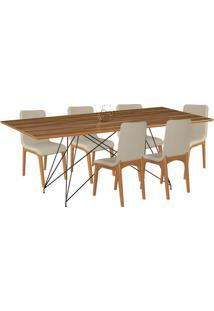 Conjunto Sala De Jantar 6 Cadeiras Mesa 180Cm Teka/Champagne Lins Linho Bege - Gran Belo - Tricae
