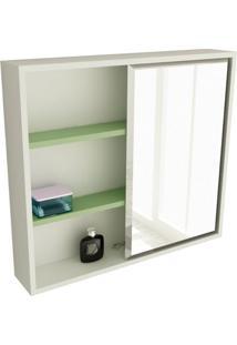 Espelheira De Banheiro 22 Quadrada 60 Cm Branco & Verde