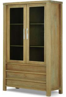 Cristaleira Vitrine Linear 2 Portas Acacia Escovado - 22128 - Sun House