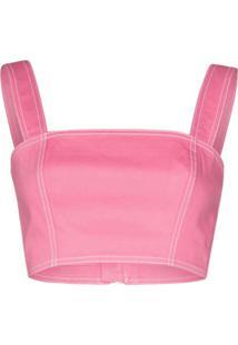 Balmain Blusa Decote Quadrado - Rosa