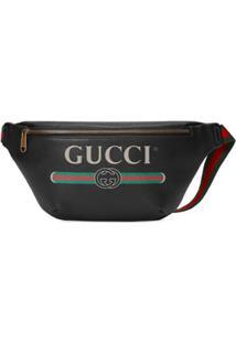 Gucci Pochete De Couro Com Gucci Print - Preto