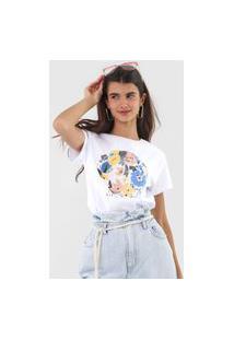 Camiseta Fiveblu Flores Branca