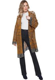 Maxi Cardigan Sacada Tricot Bicolor Amarela/Cinza