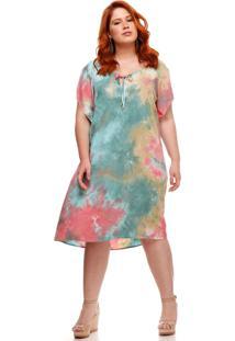 Vestido Melinde Plus Size Resort Tie Dye Verde