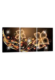 Quadro 60X120Cm Canvas Flores Digitais Decorativo Interiores