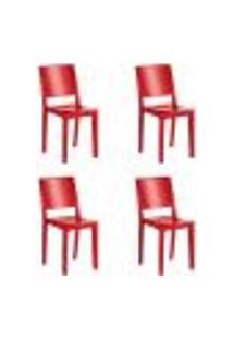 Kit 4 Cadeiras Hydra Plus Em Polipropileno - Kappesberg - Vermelho