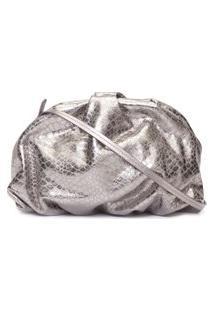 Bolsa Maxi Clutch Avril Croco Metallic - Prata