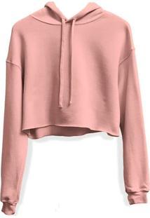 Moletom Feminino Blusa Cropped Liso Com Capuz Rosa