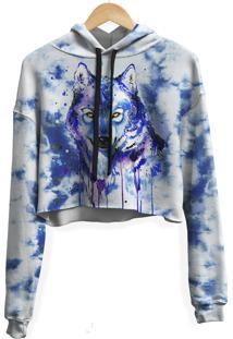 Blusa Cropped Moletom Feminina Over Fame Tie Dye Lobo Md09 - Azul/Branco - Feminino - Poliã©Ster - Dafiti