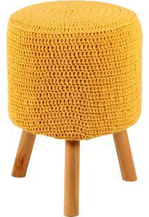 Puff Banqueta Round Crochê - Stay Puff - Amarelo
