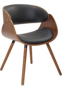 Cadeira Deise Preta E Marrom Escuro