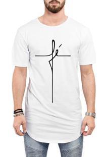 Camiseta Criativa Urbana Long Line Oversized Fé Religiosa Masculina - Masculino-Branco