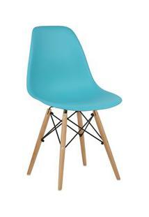 Cadeira Eiffel Charles Eames Azul Tiffany F01 Com Base De Madeira - Mp