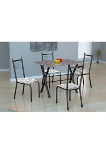 Conjunto De Mesa Miame 110 Cm Com 4 Cadeiras Lisboa Preto E Branco Floral