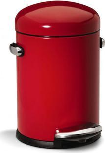 Lixeira De Aço Inox Retro Simplehuman Vermelha 4,5L - 12703