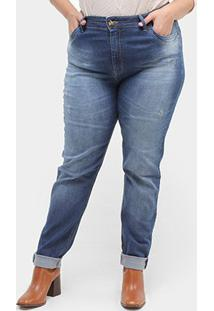 Calça Jeans Skinny Xtra Charmy Plus Size Barra Dobrada Detalhe Onça Feminina - Feminino