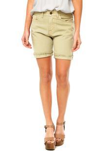 Bermuda Jeans Cantão Patch Verde