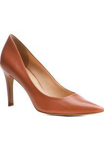 Scarpin Couro Shoestock Salto Alto Básico - Feminino-Marrom