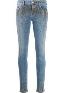 Versace Jeans Couture Calça Jeans Skinny Com Aplicação - Azul