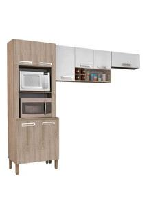 Cozinha Compacta Ametista 8 Portas Composiçáo 4 Nogal/Branco - Kit'S Paraná