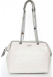 c841d1f78 ... Bolsa Texturizada Com Correntes - Off White & Prateada