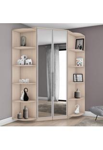 Guarda Roupa Canto Closet Com Espelho 2 Portas E 2 Cantoneiras Diamante Plus Siena Móveis Lila