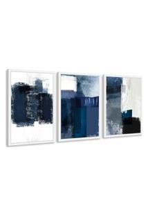 Quadro 40X90Cm Abstrato Textura Margolanak Moldura Branca Sem Vidro