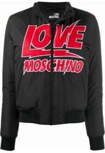 Love Moschino Jaqueta Bomber Matelassê Com Logo - Preto