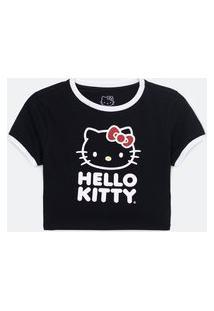Blusa Cropped Em Algodão Com Estampa Hello Kitty