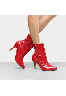Bota Cano Curto Griffe Salto Fino Feminina - Feminino-Vermelho