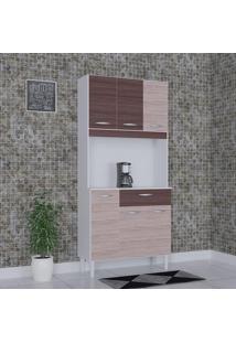 Cozinha Compacta 6 Portas 1 Gaveta Kit Cássia 6172 Amêndoa/Capuccino - Poquema