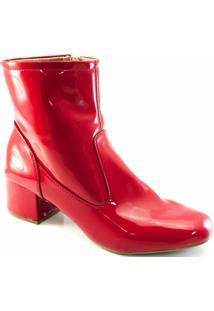 0fcbddc252 Bota Sapato Show Verniz Numeração Especial Feminina - Feminino-Vermelho