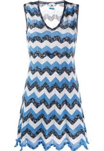 M Missoni Knitted Zigzag Dress - Azul