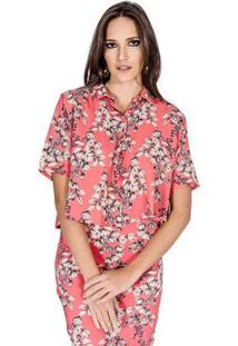Camisa Floral Colcci - Feminino-Rosa