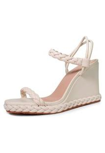 Sandália Anabela Trançada Damannu Shoes Izzy Off White
