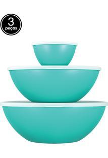 Saladeiras 3 Pçs Com Tampa Essential Verde Coza