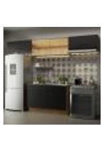 Cozinha Compacta Madesa Agata 280001 Com Armário E Balcão - Rustic/Preto
