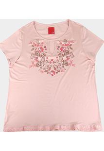 Blusa Wee! Plus Size Básica Floral Feminina - Feminino-Rosa Claro