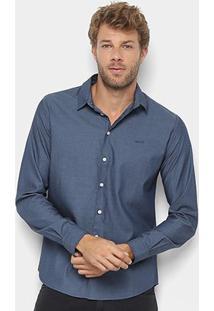 Camisa Colcci Manga Longa Básica Slim Masculina - Masculino-Azul Escuro