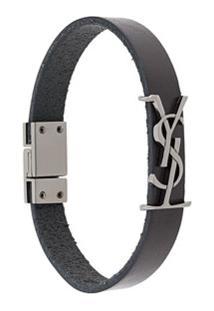 Saint Laurent Bracelete Com Placa De Logo - Preto