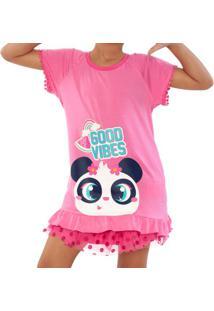 "Pijama ""Good Vibes"" - Rosa Claro & Brancopuket"