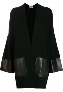 Liu Jo Cardigan Oversized Com Recorte Contrastante - Preto