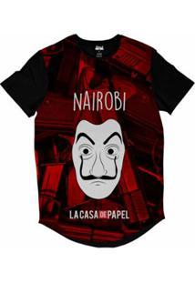 Camiseta Longline Attack Life La Casa De Papel Nairobi Sublimada Masculina - Masculino-Vermelho